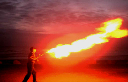 Fire Breathing at New Brigton Waterfront Wirral